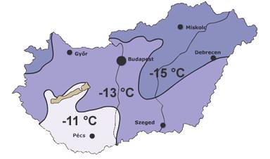 Méretezési hőmérsékletek országrészek szerint a hőszükséglet számításhoz.